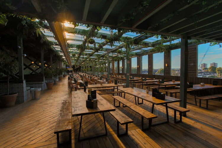 Pergola Olympia rooftop bar London